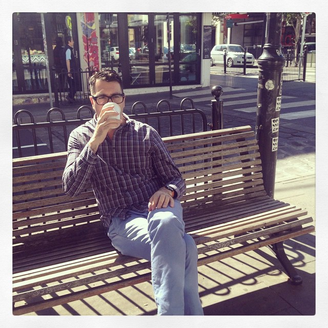 Erz kick starting the engine on this sunny morning in #prahran. #depo8 #coffee #coworking #pardon #happy #humpday